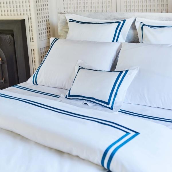 sabanas de saten de algodon de 300 hilos color azul